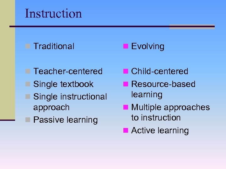 Instruction n Traditional n Evolving n Teacher-centered n Child-centered n Single textbook n Resource-based
