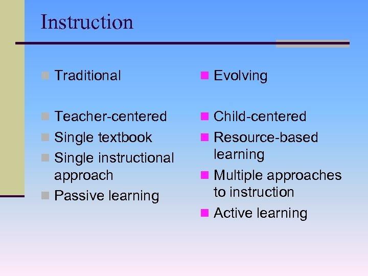 Instruction n Traditional n Evolving n Teacher-centered n Child-centered n Single textbook n Resource-based