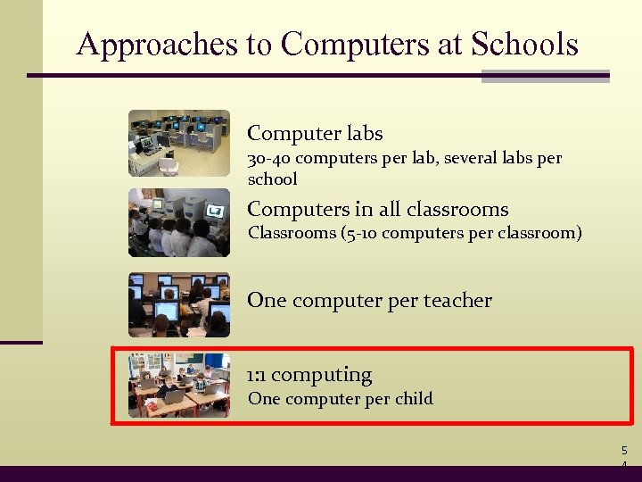 Approaches to Computers at Schools Computer labs 30 -40 computers per lab, several labs