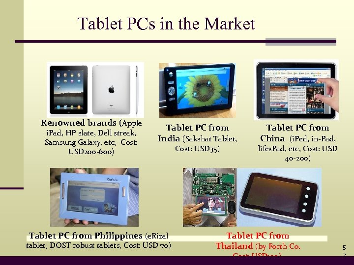 Tablet PCs in the Market Renowned brands (Apple i. Pad, HP slate, Dell streak,