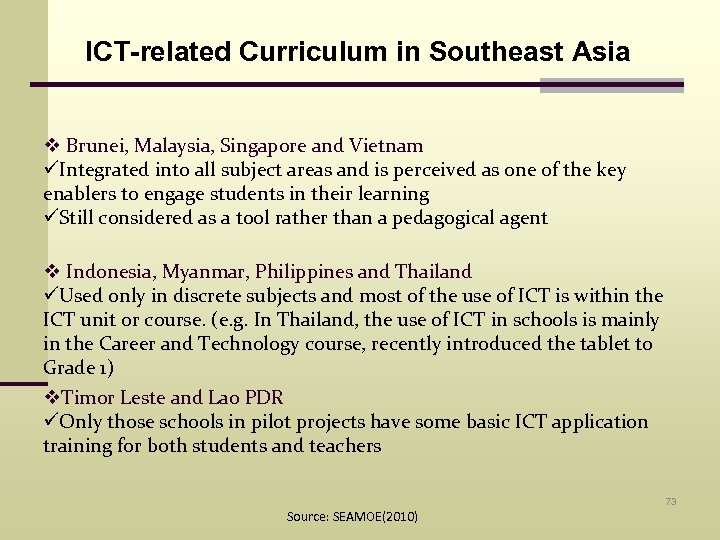 ICT-related Curriculum in Southeast Asia v Brunei, Malaysia, Singapore and Vietnam üIntegrated into all