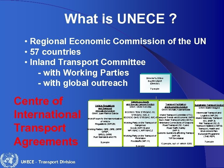 What is UNECE ? • Regional Economic Commission of the UN • 57 countries