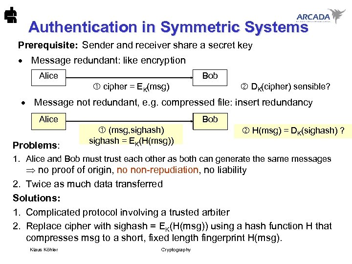 Authentication in Symmetric Systems Prerequisite: Sender and receiver share a secret key · Message
