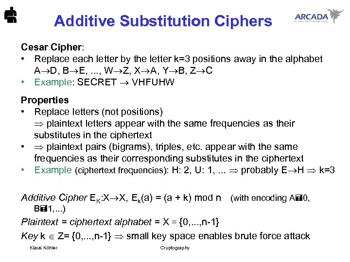 Additive Substitution Ciphers Cesar Cipher: • Replace each letter by the letter k=3 positions