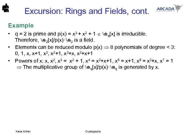 Excursion: Rings and Fields, cont. Example • q = 2 is prime and p(x)