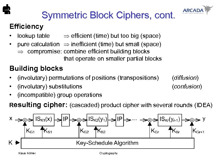 Symmetric Block Ciphers, cont. Efficiency • lookup table efficient (time) but too big (space)