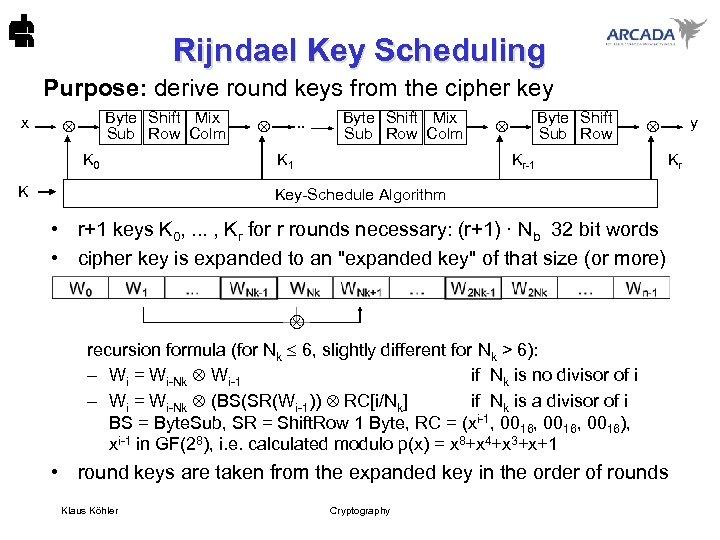 Rijndael Key Scheduling Purpose: derive round keys from the cipher key x Byte Shift