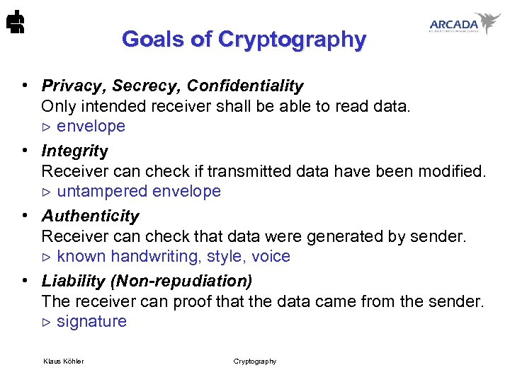 Goals of Cryptography • Privacy, Secrecy, Confidentiality Only intended receiver shall be able to