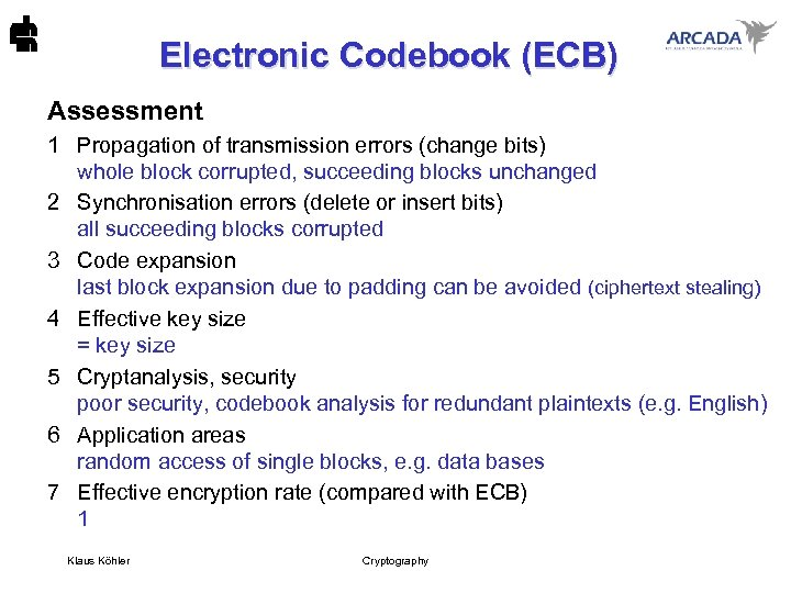 Electronic Codebook (ECB) Assessment 1 Propagation of transmission errors (change bits) whole block corrupted,