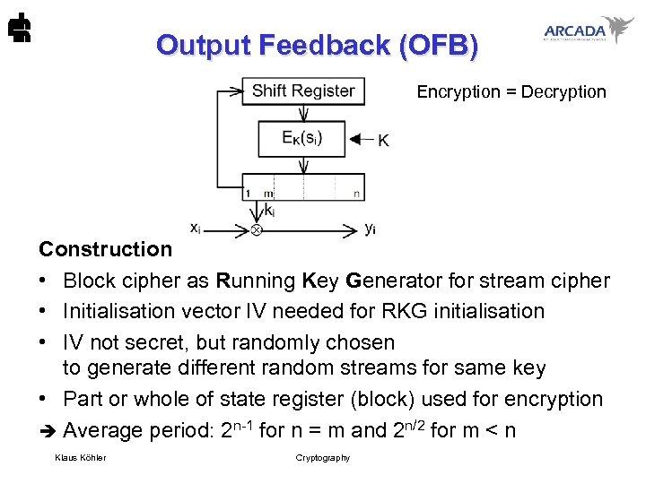 Output Feedback (OFB) Encryption = Decryption Construction • Block cipher as Running Key Generator