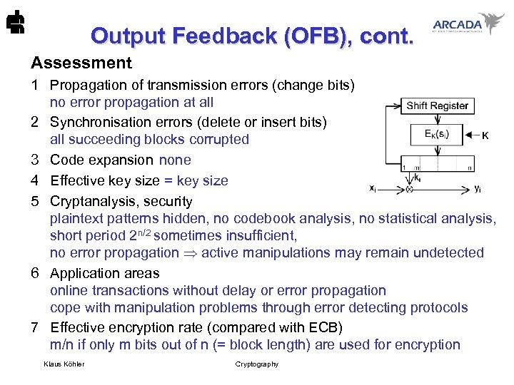 Output Feedback (OFB), cont. Assessment 1 Propagation of transmission errors (change bits) no error