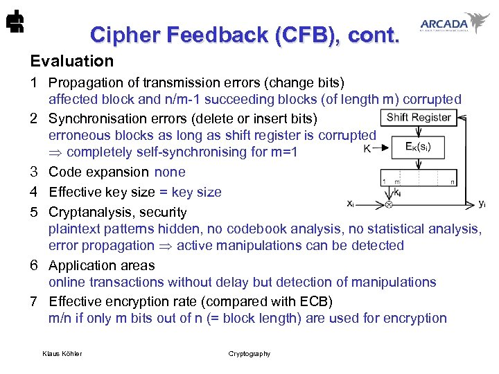Cipher Feedback (CFB), cont. Evaluation 1 Propagation of transmission errors (change bits) affected block