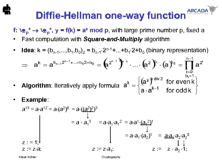 Diffie-Hellman one-way function f: p*, y = f(k) = ak mod p, with large