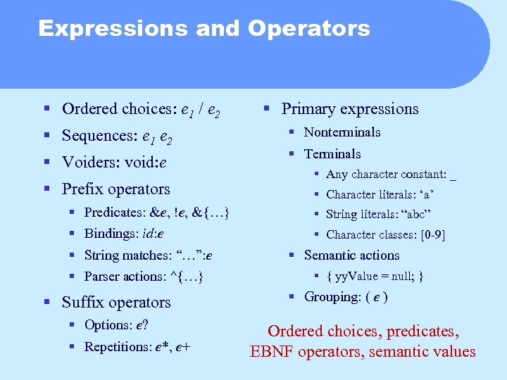 Expressions and Operators § Ordered choices: e 1 / e 2 § Sequences: e