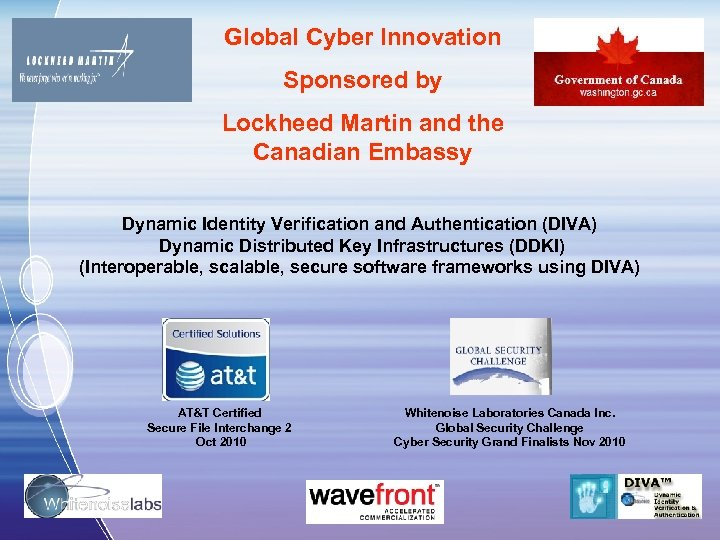 Global Cyber Innovation Sponsored by Lockheed Martin and the Canadian Embassy Dynamic Identity Verification