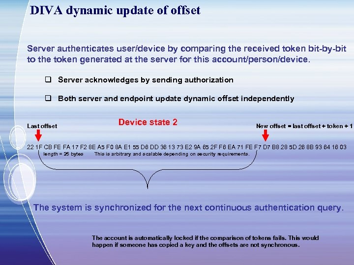 DIVA dynamic update of offset Server authenticates user/device by comparing the received token bit-by-bit