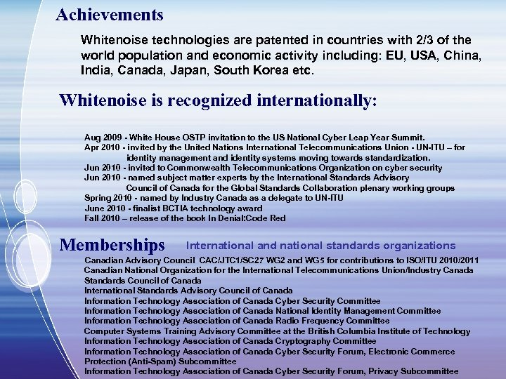 Achievements Whitenoise technologies are patented in countries with 2/3 of the world population and