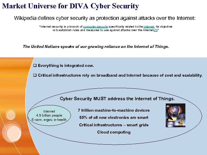 Market Universe for DIVA Cyber Security Wikipedia defines cyber security as protection against attacks
