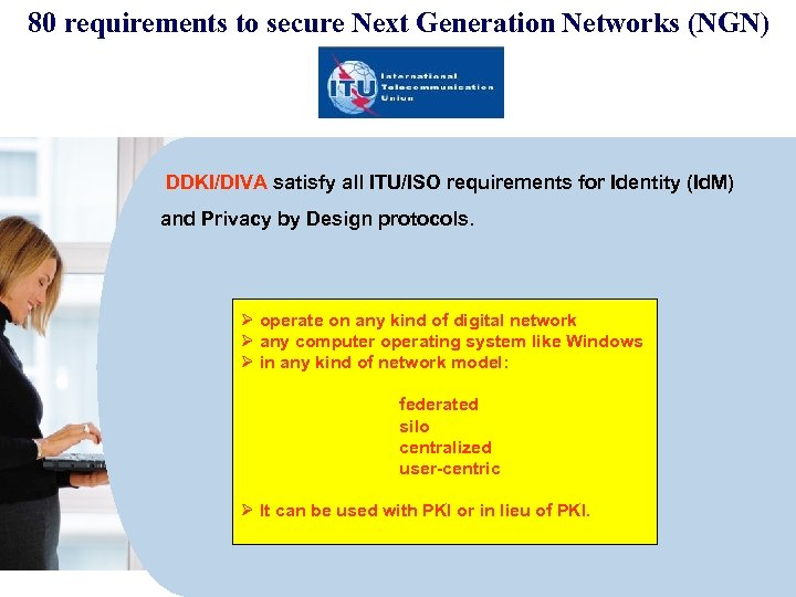 80 requirements to secure Next Generation Networks (NGN) DDKI/DIVA satisfy all ITU/ISO requirements for
