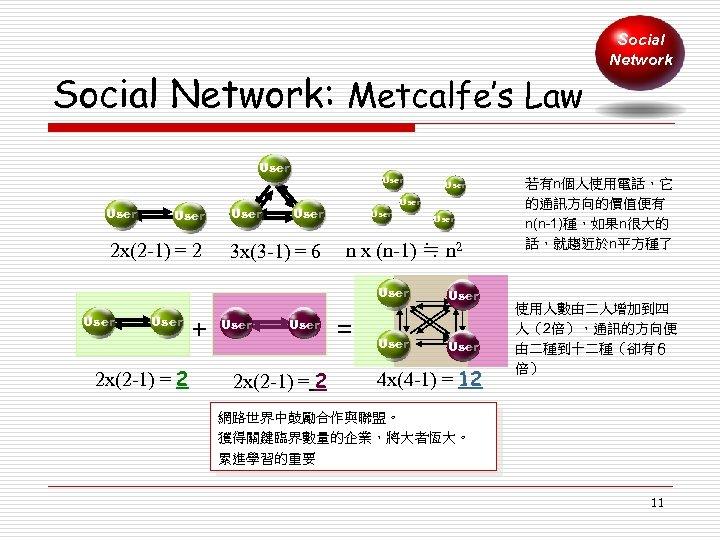 Social Network: Metcalfe's Law User 2 x(2 -1) = 2 User 3 x(3 -1)