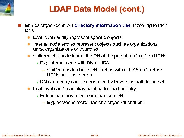 LDAP Data Model (cont. ) Entries organized into a directory information tree according to