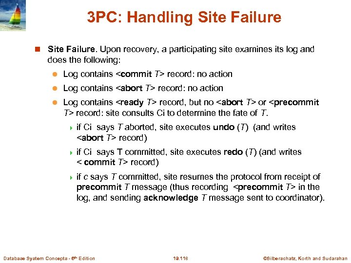 3 PC: Handling Site Failure. Upon recovery, a participating site examines its log and