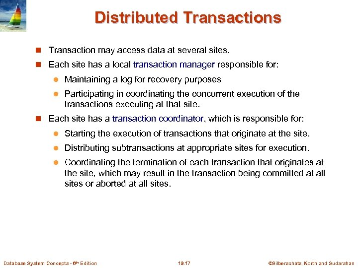 Distributed Transactions Transaction may access data at several sites. Each site has a local