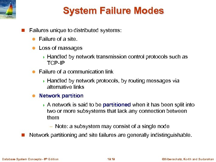 System Failure Modes Failures unique to distributed systems: l Failure of a site. l