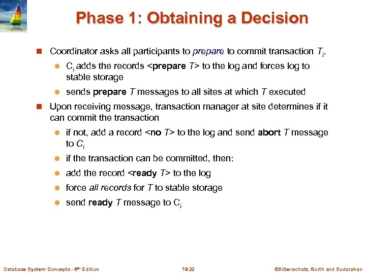 Phase 1: Obtaining a Decision Coordinator asks all participants to prepare to commit transaction