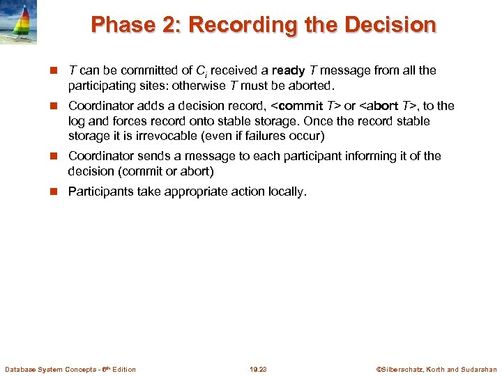 Phase 2: Recording the Decision T can be committed of Ci received a ready