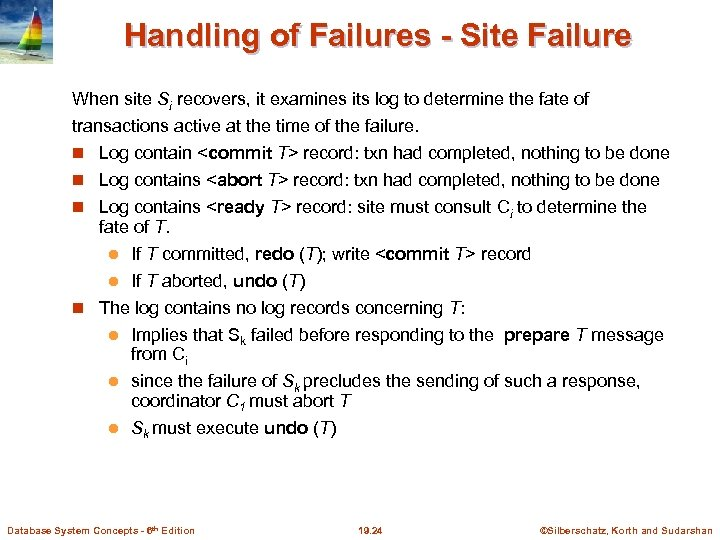 Handling of Failures - Site Failure When site Si recovers, it examines its log