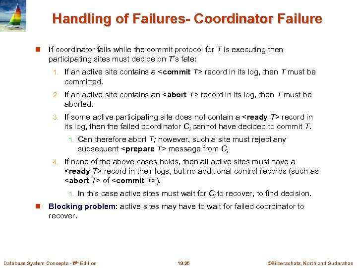Handling of Failures- Coordinator Failure If coordinator fails while the commit protocol for T