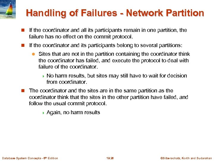 Handling of Failures - Network Partition If the coordinator and all its participants remain