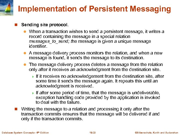 Implementation of Persistent Messaging Sending site protocol. When a transaction wishes to send a