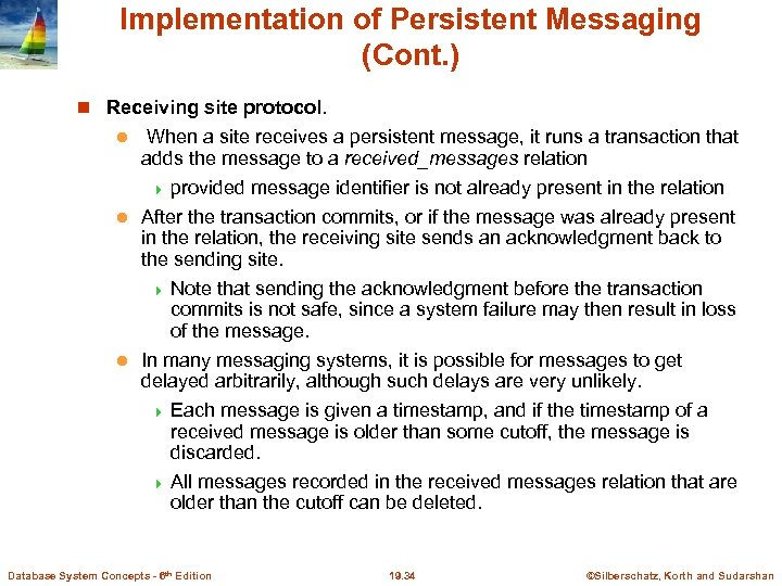 Implementation of Persistent Messaging (Cont. ) Receiving site protocol. When a site receives a