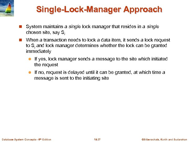 Single-Lock-Manager Approach System maintains a single lock manager that resides in a single chosen