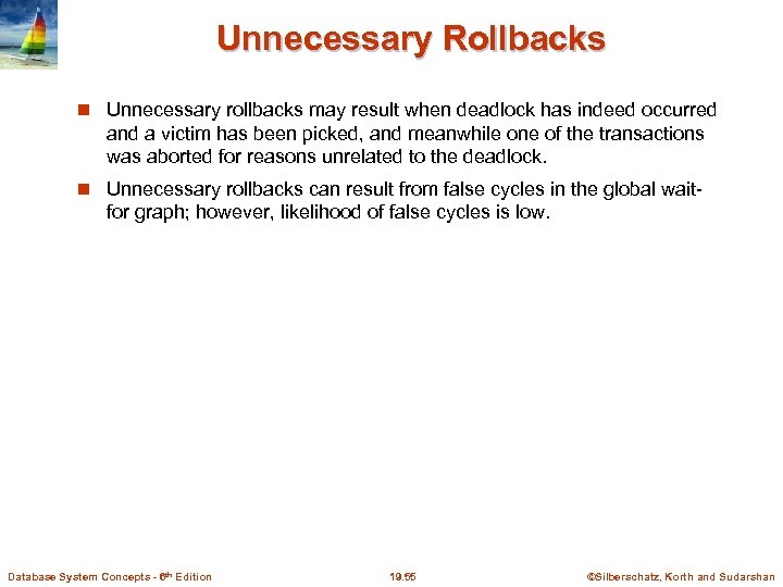 Unnecessary Rollbacks Unnecessary rollbacks may result when deadlock has indeed occurred and a victim