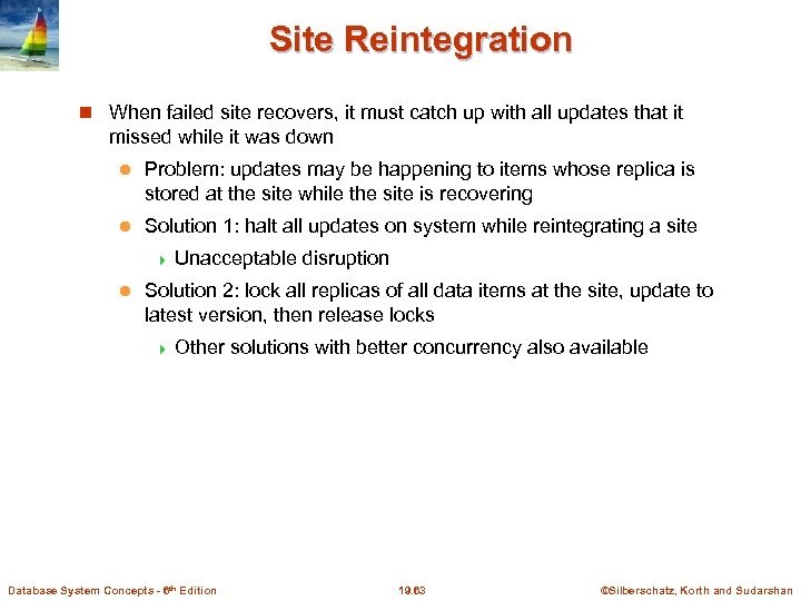 Site Reintegration When failed site recovers, it must catch up with all updates that