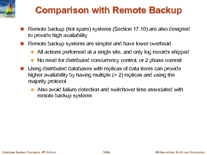 Comparison with Remote Backup Remote backup (hot spare) systems (Section 17. 10) are also