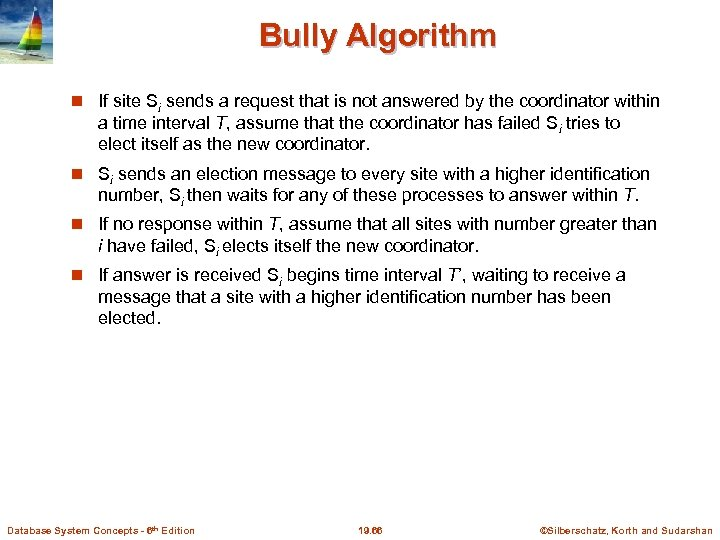 Bully Algorithm If site Si sends a request that is not answered by the