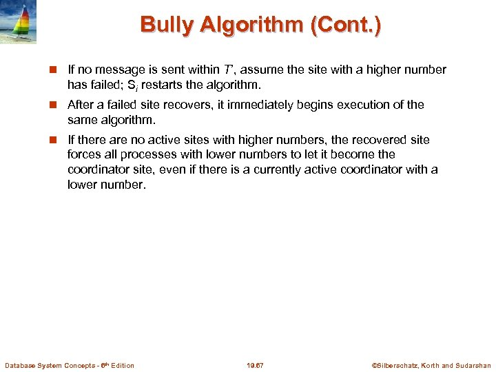 Bully Algorithm (Cont. ) If no message is sent within T', assume the site