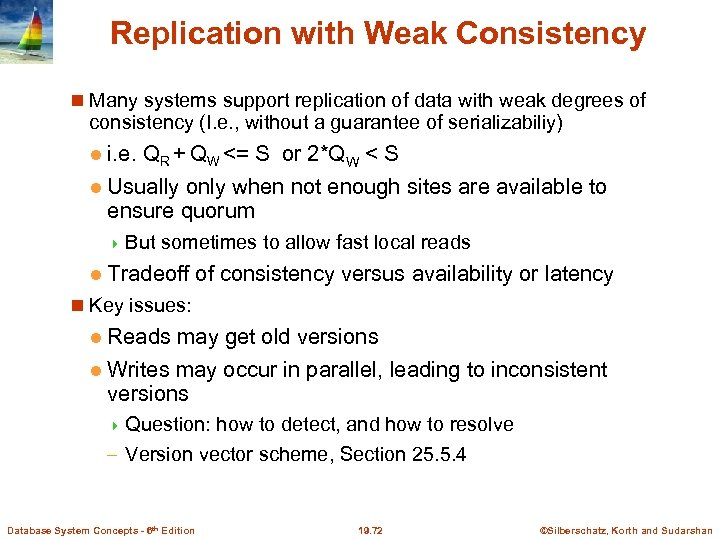 Replication with Weak Consistency Many systems support replication of data with weak degrees of