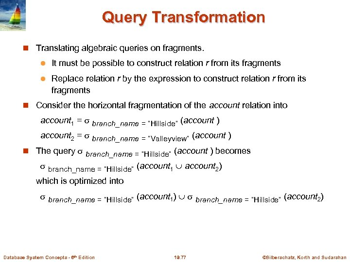 Query Transformation Translating algebraic queries on fragments. l It must be possible to construct
