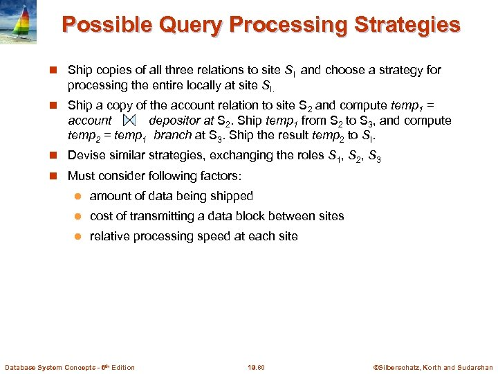 Possible Query Processing Strategies Ship copies of all three relations to site SI and