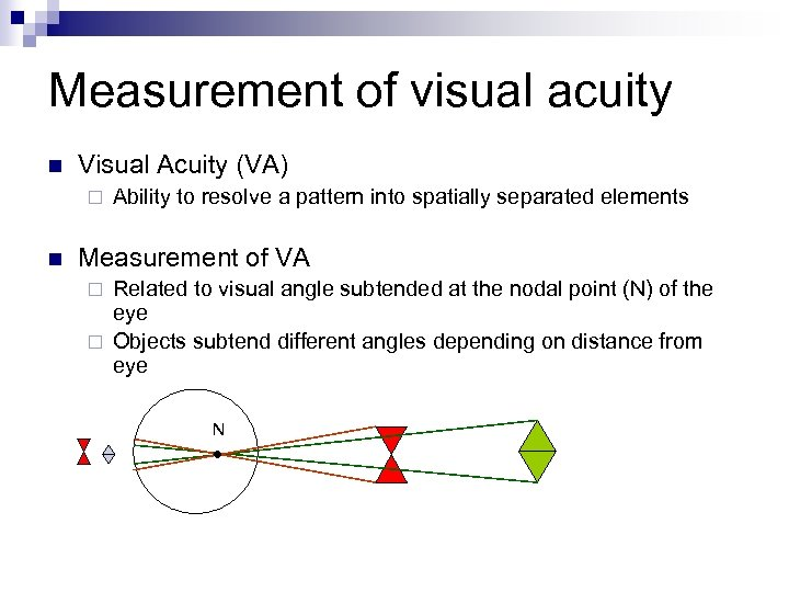 Measurement of visual acuity n Visual Acuity (VA) ¨ n Ability to resolve a