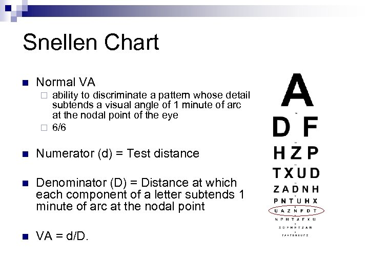 Snellen Chart n Normal VA ability to discriminate a pattern whose detail subtends a