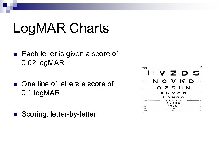 Log. MAR Charts n Each letter is given a score of 0. 02 log.