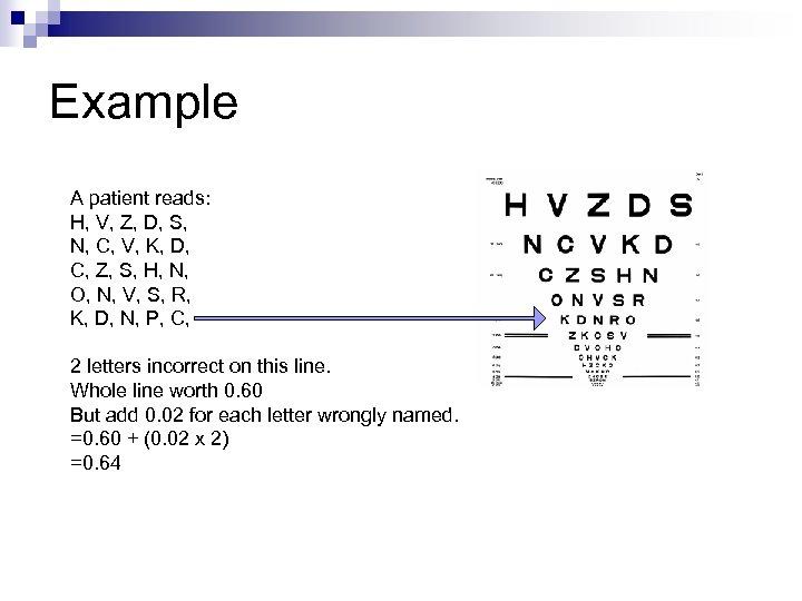 Example A patient reads: H, V, Z, D, S, N, C, V, K, D,