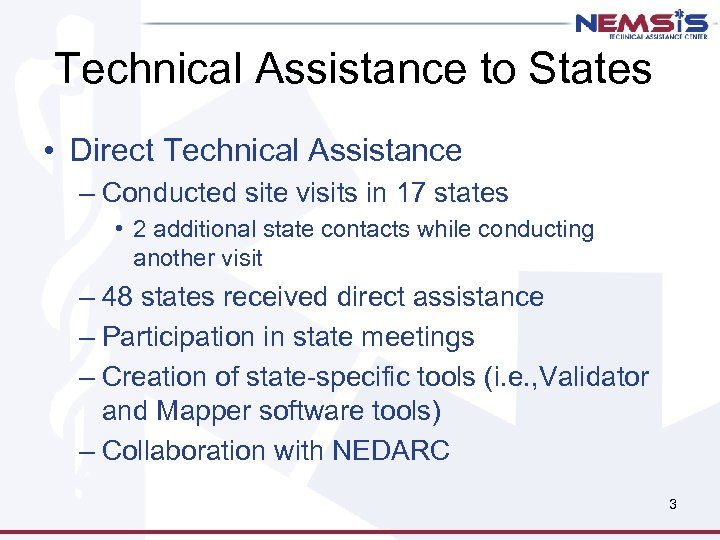 Technical Assistance to States • Direct Technical Assistance – Conducted site visits in 17