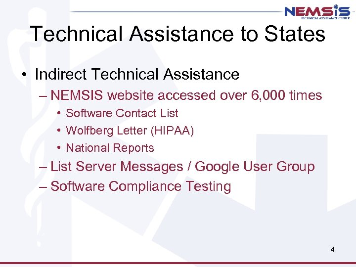 Technical Assistance to States • Indirect Technical Assistance – NEMSIS website accessed over 6,